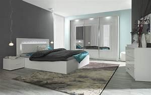 Komplett schlafzimmer panarea in hochglanz wei mit for Schlafzimmer weiß