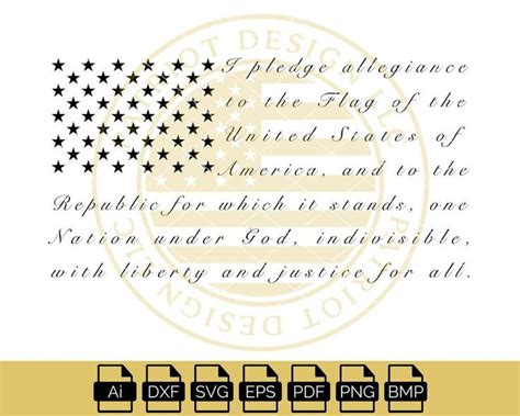 American Flag With Pledge Of Allegiance Svg – 87+ File for Free