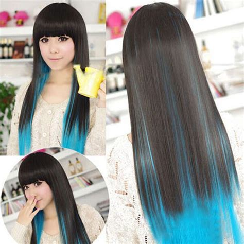 Cosplay Party Black Blue Gradients Long Straight Hair Wig