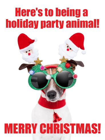 party animal funny christmas card birthday greeting
