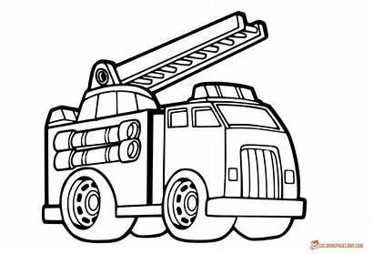 Fire Truck Coloring Pages Drawing Ladder Simple