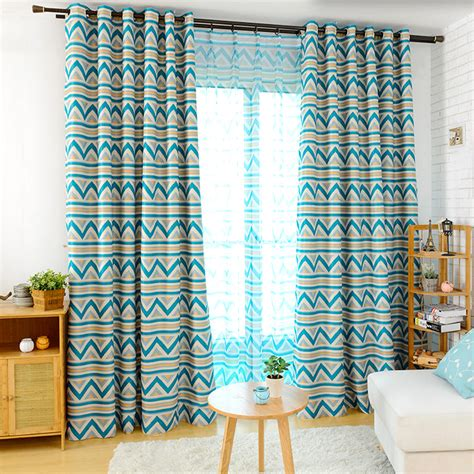 contemporary brief blue and yellow striped geometric curtains