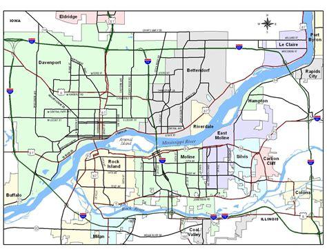 quad city region map davenport iowa mappery