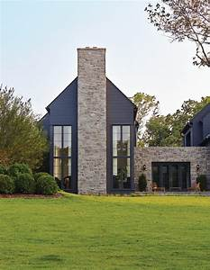 Dark Gray Paint Exterior Transitional With Stone Siding