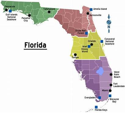 Cities Florida Map Regions State Fl County