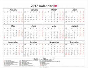 UK 2017 Calendar with Holidays Printable