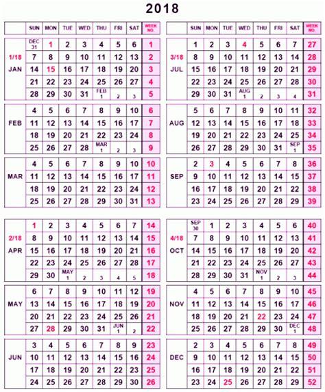 weekly calendar week numbers