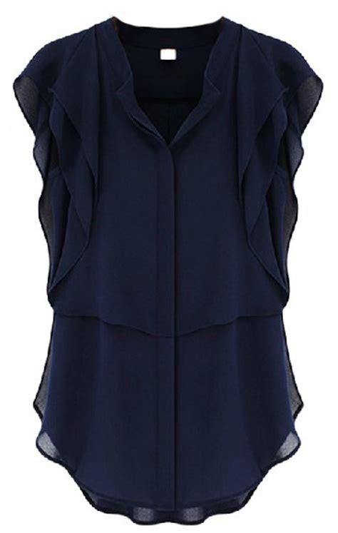 navy blouses navy v neck ruffles sleeve chiffon blouse shein sheinside