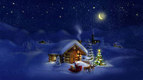 wallpaper christmas  year santa deer moon night