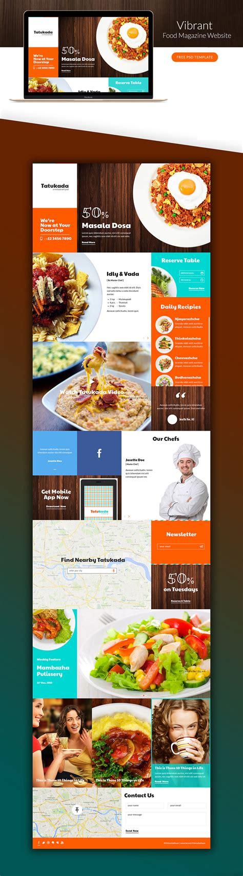 cuisine site vibrant food magazine website template free psd