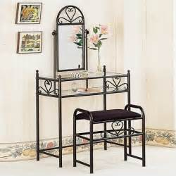 coaster frosted black wrought iron makeup vanity table set