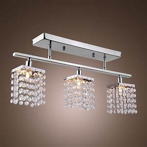 3 light hanging crystal linear with solid metal fixture With dining room ceiling light fixtures