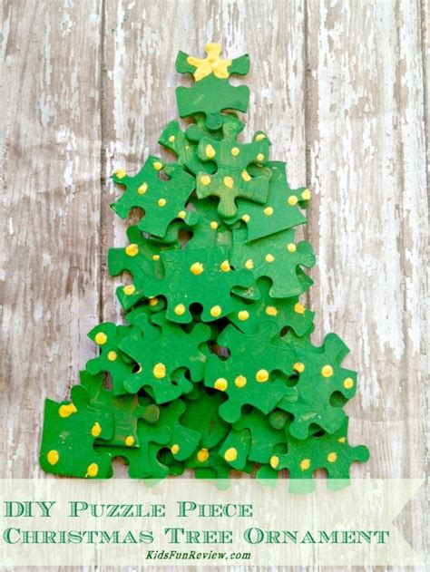 puzzle piece christmas tree ornament craft idea the kid