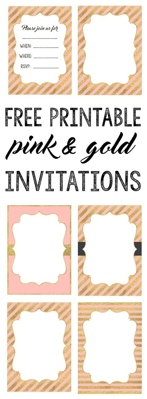 pink  gold invitations  printable pink gold