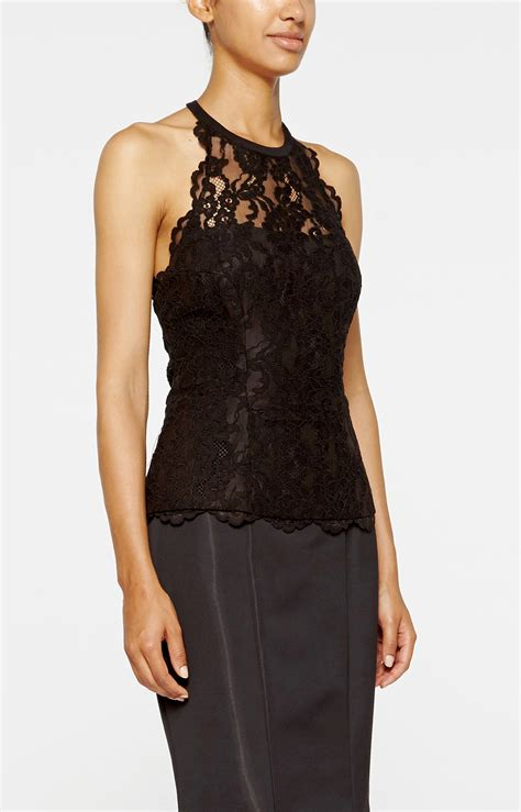 halter blouse miller lace halter top in black lyst