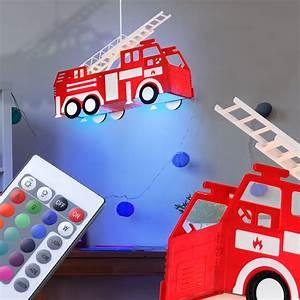 Feuerwehr Lampe Kinderzimmer : kinder lampe feuerwehr dimmbar h nge leuchte fernbedienung ~ Lateststills.com Haus und Dekorationen