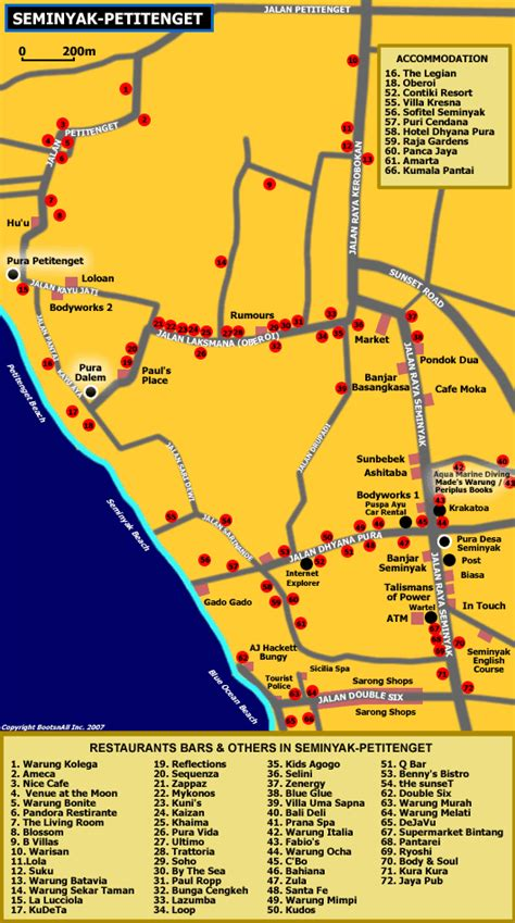 bali seminyak bars  hotels map travelling bali