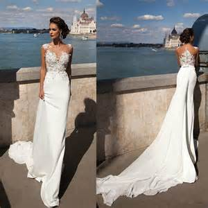 affordable lace wedding dresses princess mermaid 2016 lace wedding dresses sheer neck ribbons wedding gowns sleeveless