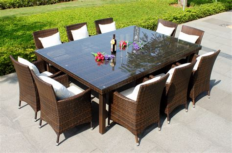 oxford 10 seater wicker rattan dining set outdoor