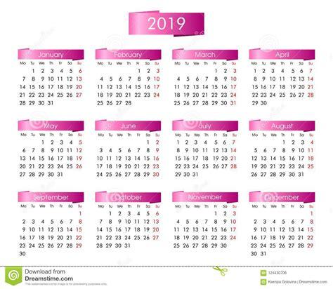 calendario annuale anni il rosa illustrazione vettoriale