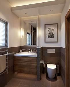 Braune Fliesen Bad : kleines badezimmer trennwand waschkonsole holz toilette ~ A.2002-acura-tl-radio.info Haus und Dekorationen