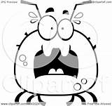 Tick Scared Coloring Clipart Cartoon Chubby Outlined Vector Thoman Cory Royalty sketch template