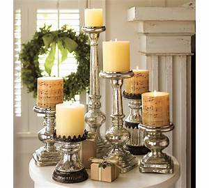elegance mercury glass pillar candle holders home With kitchen colors with white cabinets with mercury glass taper candle holders