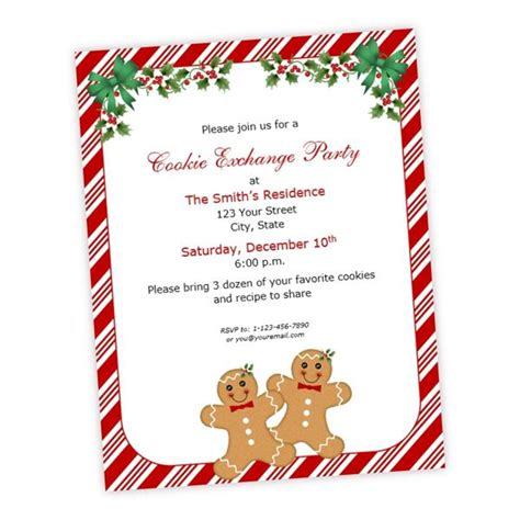 gingerbread men holly christmas party flyer ajs prints