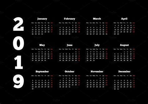 white calendar   year  black illustrations