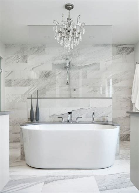 freestanding tub with shower 17 gorgeous bathrooms with marble tile