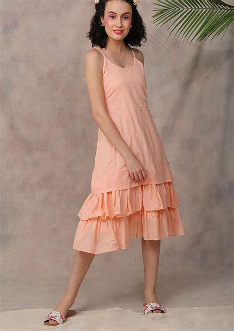 Pool Party Dress - Peach Spaghetti Strap Ruffled Hem Dress ...