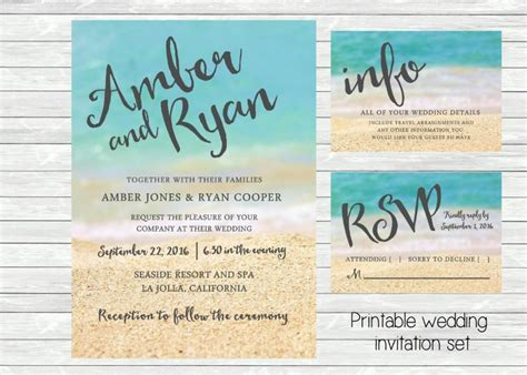 Beach Wedding Invitation. Ocean And Sand In The Background. Printable File. Jpg Or Pdf Available Wedding Itinerary Ring Finger My Forged Headcanon Tumblr Registry Japan Buffet Icons Checklist Pdf Confessions