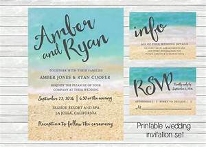 beach wedding invitation ocean and sand in the background With printable beach themed wedding invitations
