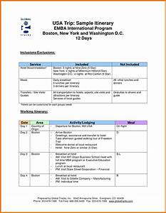 Cool executive travel itinerary template images resume for Itenary template