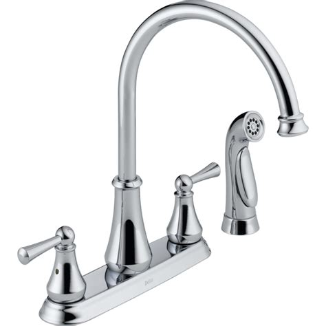 delta high arc kitchen faucet shop delta chrome 2 handle high arc kitchen faucet at