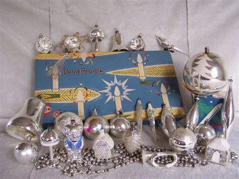 antique christmas baubles  decorations silver