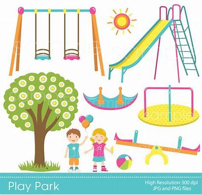 Clipart Park Play Playground Swings Clip Playdate