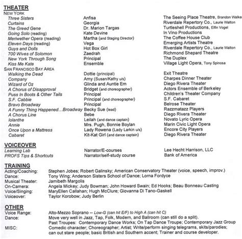 Musical Theatre Resume by Resume Format Resume For Musical Theatre