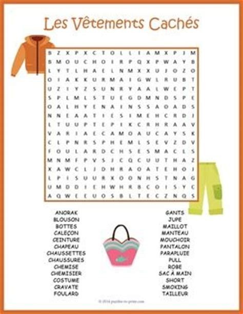 clothing vocabulary word search les v 234 tements