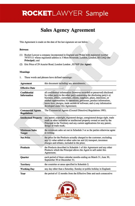 sales agency agreement sales agency contract template