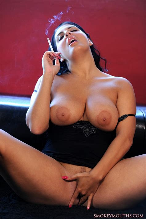 Chubby Black Haired Bitch Smoking Fetish