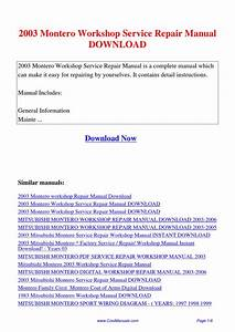 2003 Montero Workshop Service Repair Manual By Lan Huang