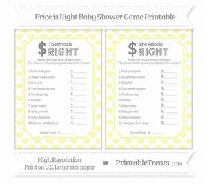 free printable price is right baby shower game template - pastel light yellow heart pattern price is right baby