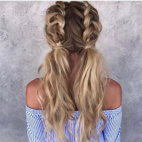 half dutch braided pigtails hair styles pinterest