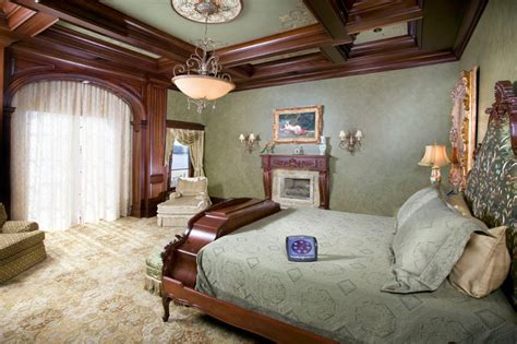 Traditional Green Bedroom with Wood Wall Trim Moulding