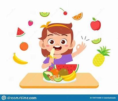 Eat Fruits Kid Happy Vegetable Salad Cartoon