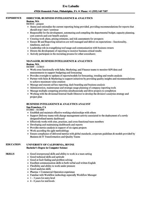 Business Analytics Resume by Business Intelligence Analytics Resume Sles Velvet