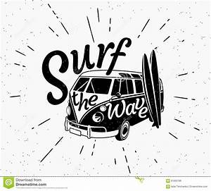 Van Surf Retro Black And White Illustration Stock Vector ...