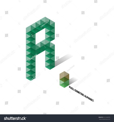R Pixel Isometric Alphabet Vector Illustration Stock