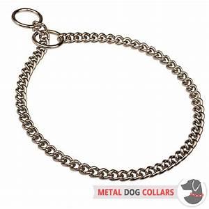 Choke Chain Dog Collar - Snake Steel Chrome Plated Collar ...